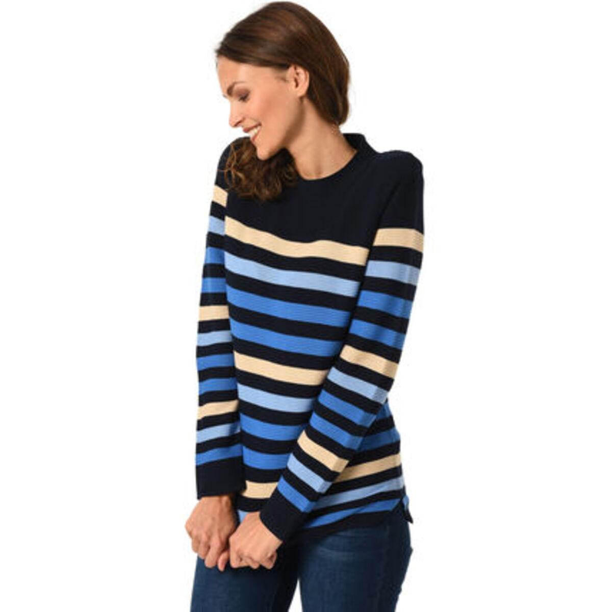 Bild 3 von Adagio Pullover, Baumwoll-Mix, Rundhalsausschnitt, Streifen-Muster, für Damen