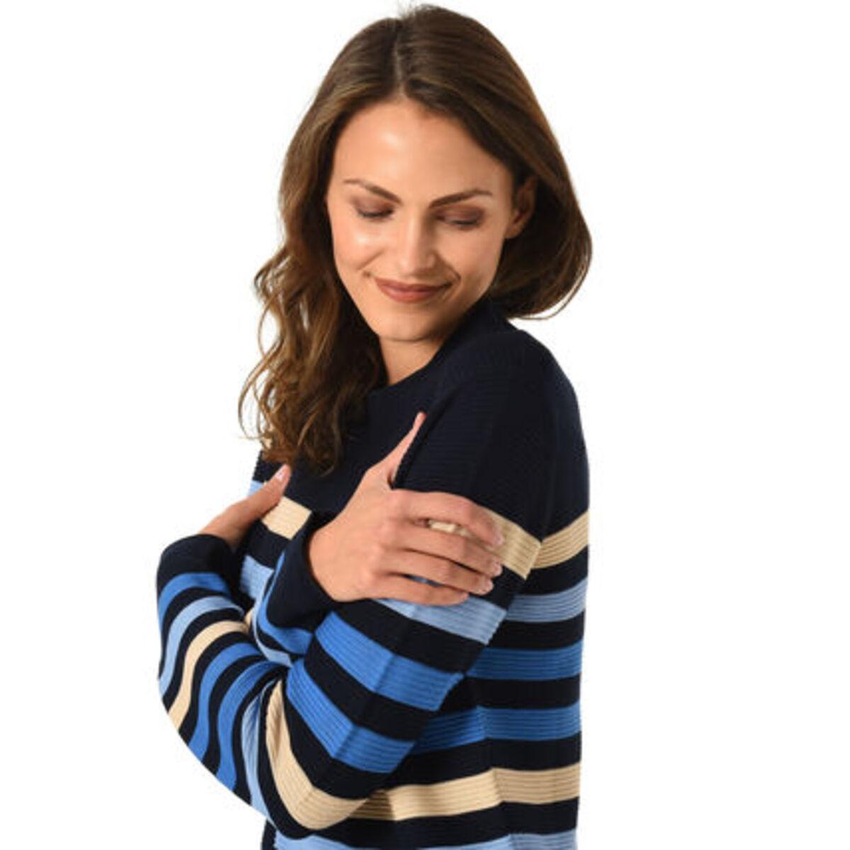 Bild 4 von Adagio Pullover, Baumwoll-Mix, Rundhalsausschnitt, Streifen-Muster, für Damen