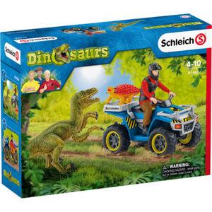 Schleich Dinosaurs - Spielfiguren-Set Flucht auf Quad vor Velociraptor 41466