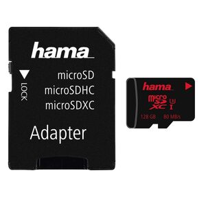 Hama microSDXC128 GB UHS Speed Class 3 UHS-I80 MB/s #+ Adapter »inkl. Adapter auf SD Karte«