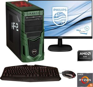 Hyrican »Military SET1877« Gaming-PC-Komplettsystem (27 Zoll, AMD Ryzen 5, RTX 2070 SUPER, 16 GB RAM, 1000 GB HDD, 480 GB SSD, 1-tlg, inkl. Office-Anwendersoftware Microsoft 365 Single im Wert von