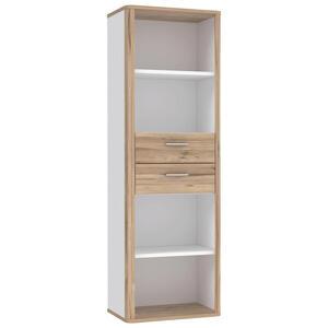 Xora Regal weiß, eichefarben , Tess , Holzwerkstoff , 3 Fächer , 2 Schubladen , 65.5x198.3x41.3 cm , Nachbildung , stehend , 000687023306