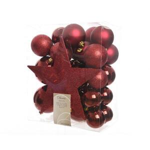 X-Mas Christbaumkugel-set 33-teilig rot , 023373 , Kunststoff , 5 cm Schubladen , 28x14x22 cm , 003754084602