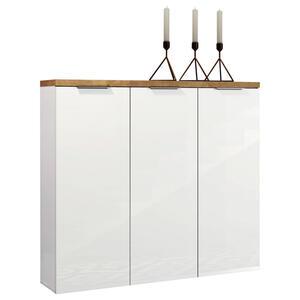 Xora Schuhschrank hochglanz weiß, eichefarben , Idea , Holzwerkstoff , 10 Fächer , 120x115x34 cm , Hochglanz,matt,Nachbildung , Beimöbel erhältlich , 001027000401