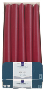 METRO Professional Spitzkerzen Bordeaux 240 x Ø 22 mm 7 Std., 10 Stk.