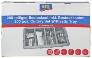 aro Scandinavia Besteckset mit Container 200 tlg. Edelstahl 18/0