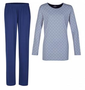 Götzburg Damen Schlafanzug, flieder/dunkelblau
