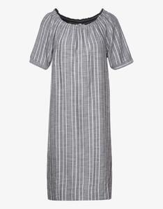Street One - gestreiftes Carmen-Kleid mit Leinen-Anteil
