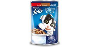 felix Katzennassfutter So gut wie es aussieht Doppelt Lecker in Gelee mit Rind und Geflügel