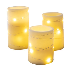 I-Glow LED-Echtwachskerzen, 3er-Set