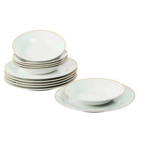Casalino Tafelservice 12-teilig Weiß + Rand goldoptik