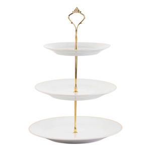 Casalino Etagère 3-Stufig in Weiß mit Goldrand