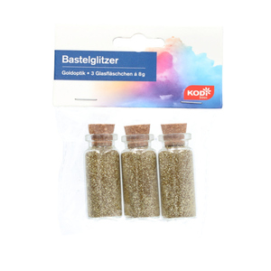 KODi basic Bastelglitzer 3 Glasfläschchen á 8 g in Goldoptik