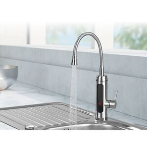 MAXXMEE Warm- & Kaltwasserarmatur Edelstahl 3300W chrom/schwarz inkl. 2 Aufsätze