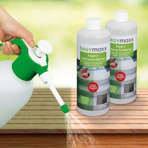 EASYmaxx Reinigungsmittel Algen/Flechten/Pilze 2er-Set 1000ml mit Drucksprüher 1,8l