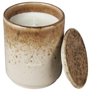 OSYNLIG Duftkerze im Behälter mit Deckel, Granatapfel und Amber/weiß braun