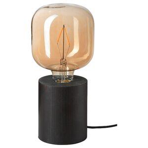 BLEKKLINT / LUNNOM Tischleuchte + LED-Leuchtmittel, braun