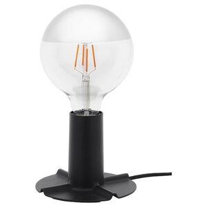 SILLBO / SKALLRAN Tischleuchtenfuß + Lampe, rund kopfverspiegelt silberfarben/dunkelgrau