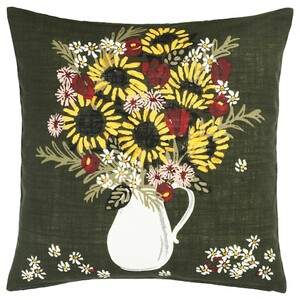DEKORERA Kissenbezug, dunkelgrün Blüten/Blätter
