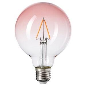 LUNNOM LED-Leuchtmittel E27 80 lm, rund Klarglas rosa