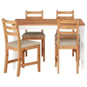 LERHAMN Tisch und 4 Stühle, Antikbeize hell weiß gebeizt/Vittaryd beige