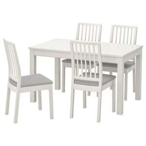 LANEBERG / EKEDALEN Tisch und 4 Stühle, weiß/weiß hellgrau