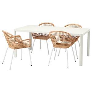 TINGBY / NILSOVE Tisch und 4 Stühle, weiß/Rattan weiß