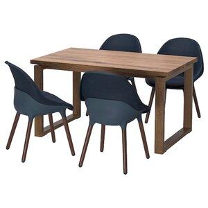 MÖRBYLÅNGA / BALTSAR Tisch und 4 Stühle, Eichenfurnier braun las./schwarzblau