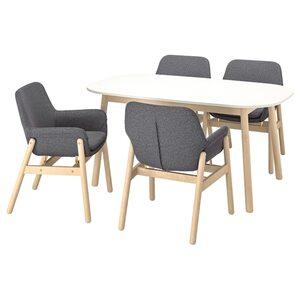 VEDBO Tisch und 4 Stühle, weiß/Birke