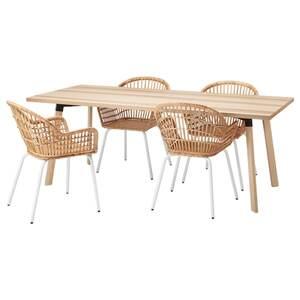 YPPERLIG / NILSOVE Tisch und 4 Stühle, Esche/Rattan weiß