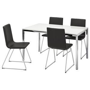 TORSBY / VOLFGANG Tisch und 4 Stühle, Hochglanz weiß/Bomstad schwarz