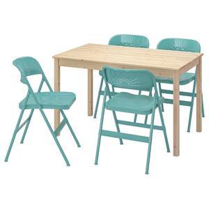 INGO / FRODE Tisch und 4 Stühle, Kiefer/türkis