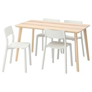 LISABO / JANINGE Tisch und 4 Stühle, Eschenfurnier/weiß