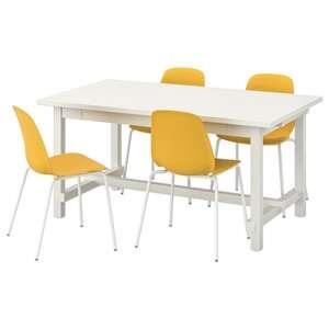 NORDVIKEN / LEIFARNE Tisch und 4 Stühle, weiß/Broringe weiß