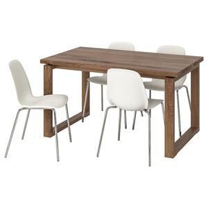 MÖRBYLÅNGA / LEIFARNE Tisch und 4 Stühle, braun/weiß