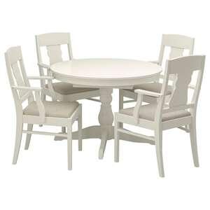 INGATORP Tisch und 4 Stühle, weiß
