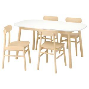 VEDBO / RÖNNINGE Tisch und 4 Stühle, weiß/Birke