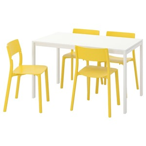 MELLTORP / JANINGE Tisch und 4 Stühle, weiß/gelb