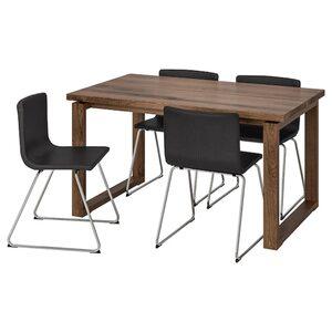 MÖRBYLÅNGA / BERNHARD Tisch und 4 Stühle, braun/Mjuk dunkelbraun