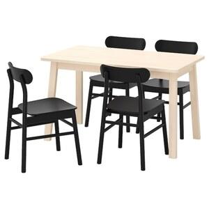 NORRÅKER / RÖNNINGE Tisch und 4 Stühle, Birke/schwarz