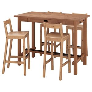 NORDVIKEN Theke + 4 Barstühle, Antikbeize/Antikbeize
