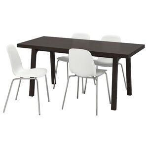 VÄSTANBY/VÄSTANÅ / LEIFARNE Tisch und 4 Stühle, dunkelbraun/weiß