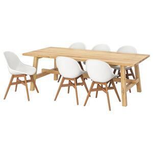 MÖCKELBY / FANBYN Tisch und 6 Stühle, Eiche/weiß