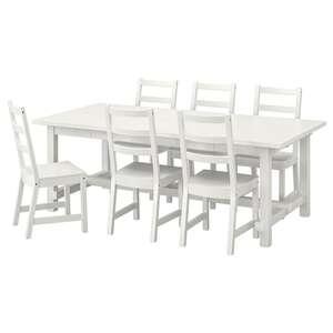 NORDVIKEN Tisch und 6 Stühle, weiß/weiß