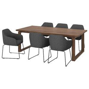 MÖRBYLÅNGA / TOSSBERG Tisch und 6 Armlehnstühle   , Eichenfurnier braun las./Metall grau