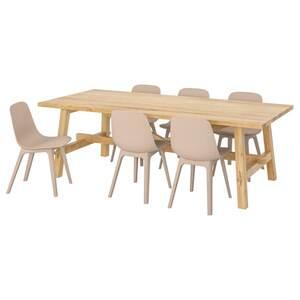 MÖCKELBY / ODGER Tisch und 6 Stühle, Eiche/weiß/beige