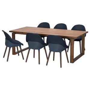 MÖRBYLÅNGA / BALTSAR Tisch und 6 Stühle, Eichenfurnier braun las./schwarzblau
