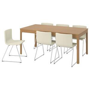 EKEDALEN / BERNHARD Tisch und 6 Stühle, Eiche/Mjuk weiß
