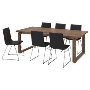 MÖRBYLÅNGA / VOLFGANG Tisch und 6 Stühle, braun/Bomstad schwarz