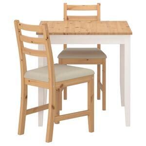 LERHAMN Tisch und 2 Stühle, Antikbeize hell weiß gebeizt/Vittaryd beige